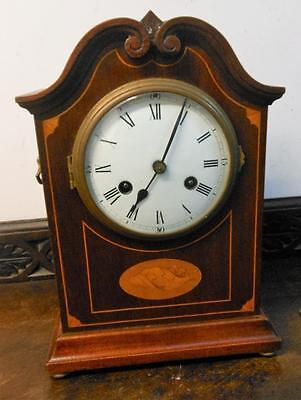 mahogany inlaid  striking mantel clock by philipe hass sohne