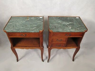 Pair of French Louis XV Nightstands Marble Top - 11523