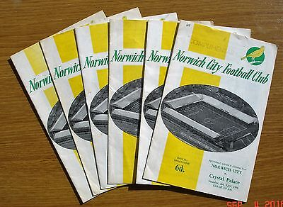6 no Norwich City home programmes from season 1965-66.