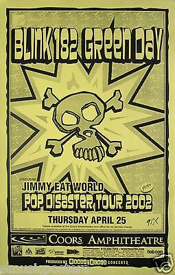 """Blink 182 /green Day /jimmy Eat World """"pop Disaster Tour 2002"""" San Diego Poster"""