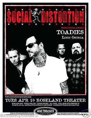 SOCIAL DISTORTION/TOADIES 2012 PORTLAND CONCERT TOUR POSTER-Punk Rock, Mike Ness