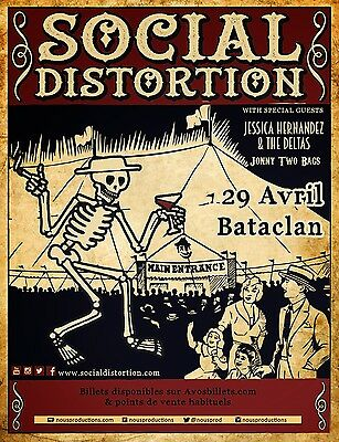 Social Distortion/jessica Hernandez & The Deltas 2015 Paris Concert Tour Poster