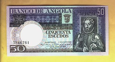 Free Shipping Banknote Portugal Angola 50 Escudos 1973 Crisp New Usa Only