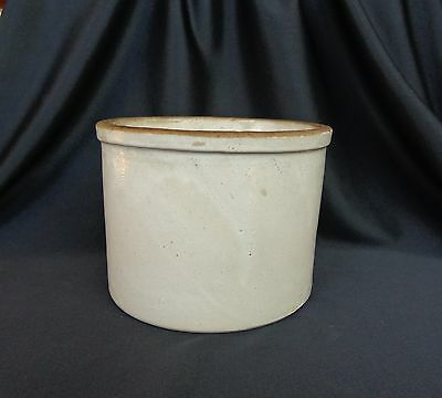 "Vintage Old Stoneware Pottery 1 Quart Low Jar Crock 6-1/4"" Diameter 4-1/2 Tall"