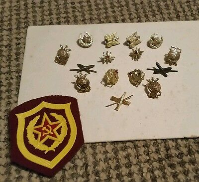 Soviet Russian military cap badges and patch