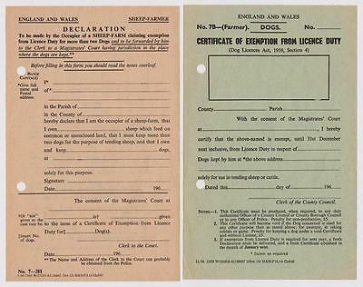 1960s Vintage Certificates Exemption From Dog Licence Duty Farmer & Sheep Farmer