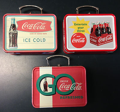 "Lot of 3 Coca Cola Collectible Miniature Lunch Box Tins 3-1/2"" x 2-1/2"" x 1-1/4"""