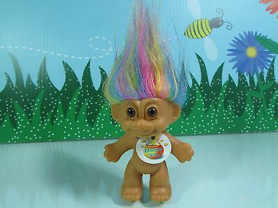 "GOOD LUCK / BINGO TROLL w/RAINBOW HAIR - 3"" Russ Troll Doll - NEW WITH FLAWS #11"