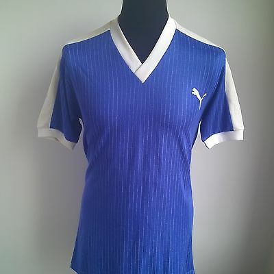 Blue 1980's Vintage Made In Western Germany Puma Football Shirt Size Adult M