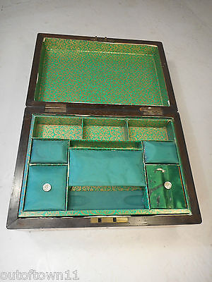 Antique inlaid Walnut Sewing  Box     ref 1770