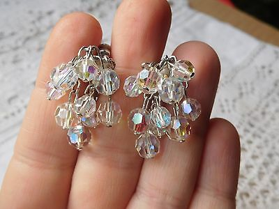 Dazzling Vintage 1950s Rainbow Crystal Drop Clip On Earrings signed JEWELCRAFT