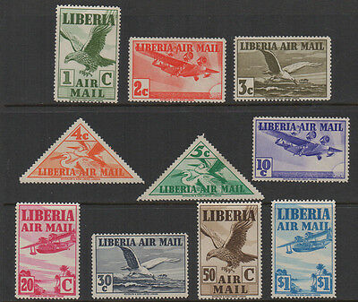 Liberia, SG 565-574 1938 Air Stamps full set of 10 to $1, mounted mint.