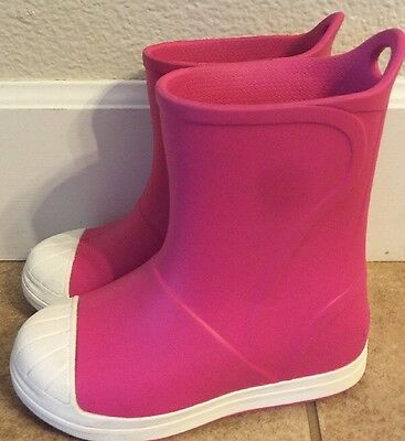 Crocs Girls Bump It Pink Rain Boots Nice! Size 10