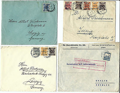 British Palestine : lot of 4 letters with different franking 1923 1924 1926 1928