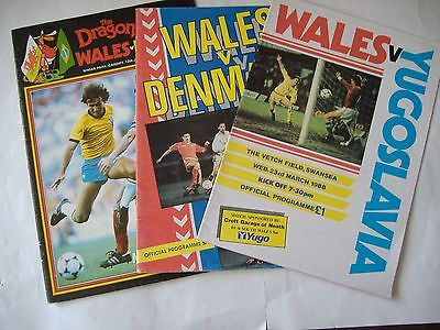 1980s Wales Home Football Programmes x THREE, ( Brazil/Denmark/Yugoslavia)