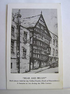 ARTIST POSTCARD - SHREWSBURY - THE BEAR AND BILLET - SHROPSHIRE - c.1955