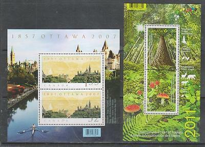 CANADA - 2007 Ottawa Anniv & 2011 Year of Forests - 2 x M/Sheets, MNH