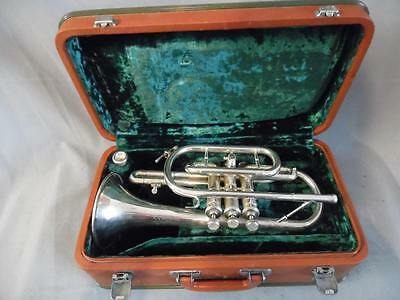 Singha Chinese Made Silver Plated Cornet K403 with Mouthpiece - in Hard Case