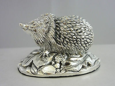 Stunning Hallmarked Sterling Silver Hedgehog  Statue Brand New