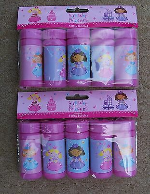 "**2 Packs Of 5 Per Pack- Birthday Princess-""blow Bubbles""-- Party Bag Toys**new"