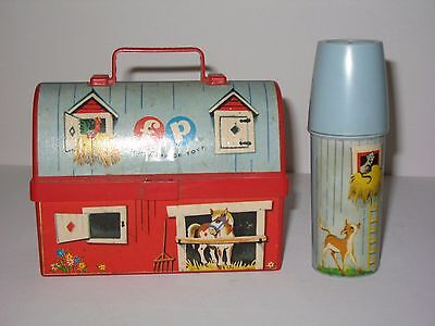 1962 Fisher Price Barn Lunch Box with Silo Thermos