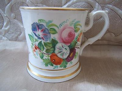 19thC antique LOVE THE GIVER hand painted flowers STAFFORDSHIRE MUG tankard A/F