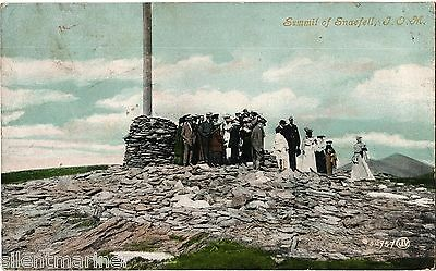 Summit of Snaefell, Isle of Man, old coloured postcard, posted 1906