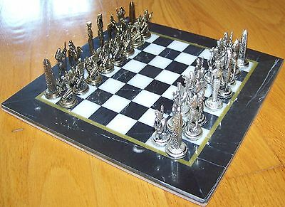 "Metal Ancient Egyptian Figure & 10""x10"" Black & White Marble Board Chess Set"