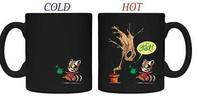 GUARDIANS OF THE GALAXY ROCKET & GROOT WATER HEAT CHANGE MUG NIB #soct16-297