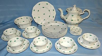 27 Piece Antique Green Flower Sprig Ware Staffordshire Tea/Coffee Set Ironstone
