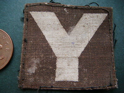 WW2 formation patch - printed white Y - Yorkshire / 5th Infantry Division - worn