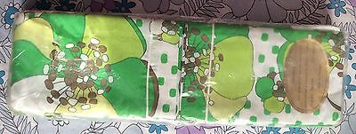 vintage 70s new in packaging bold green floral bed sheets & pillowcases set