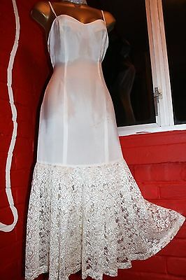 Gorgeous Rayon Underdress Full Slip Draped Pleated Heavy Laced Deep Trim Dress