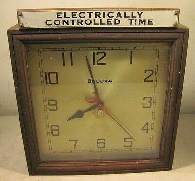 Antique 1930's Bulova ST-1 Wall Clock Electrically Controlled Time School USA