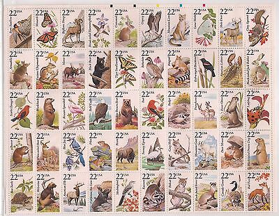 USA stamps - 1987 North American Wildlife stamp sheet, SG2256/2305, MNH