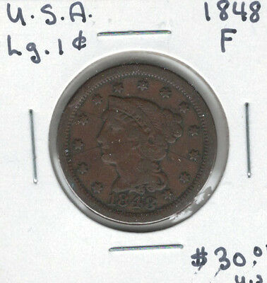 United States USA 1848 Large Cent F Braided Hair