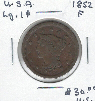 United States USA 1852 Large Cent F Braided Hair