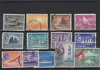 Singapore/malaya.13 -- Early Qe2 Used Stamps On Stockcard.
