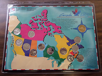 1992 CANADA ROYAL MINT 125th ANN. OF CONFEDERATION SET  13 COINS SPECIAL HOLDER