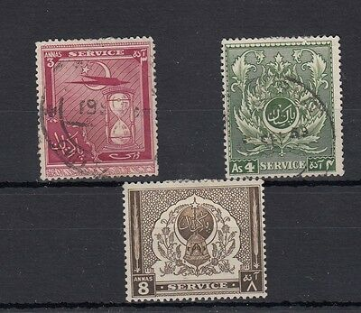 """Pakistan. 3 -- 1951 Mm/used """" Service """" Stamps On Stockcard"""