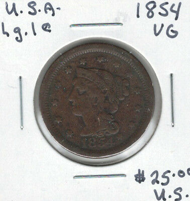 United States USA 1854 Large Cent VG Braided Hair