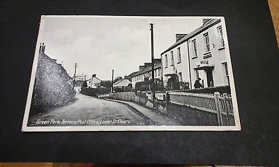 Carmarthenshire:St.Clears,Green Park Terrace &Post Office,man outside.