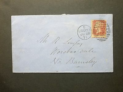 GB Lincolnshire 1871 QV 1d red plate 130 Envelope 458 LINCOLN Duplex to Barnsley