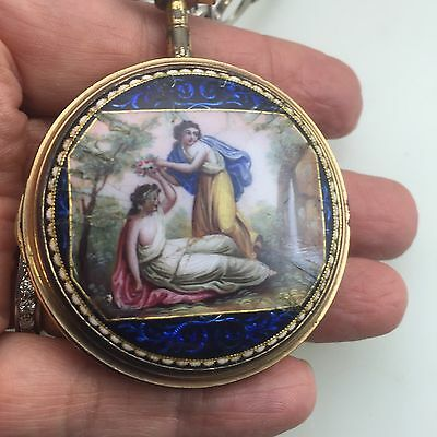 Antique Romilly De Lion Enamel pocket watch For Parts Or Repair
