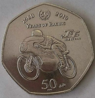 50p Coin 2010 Isle of Man TT Races Fifty Pence UNC  SUZUKI RACING Scarce