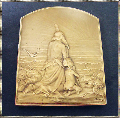 Art Nouv. Rr Bronze Medal - The Old Man & Child -Salute To The Sun - Dupre 1899
