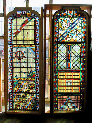 Pair Of Large Aesthetic Stained Glass Windows 30 X 88  Architectural Salvage