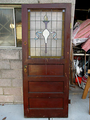 ~ ANTIQUE AMERICAN STAINED GLASS DOOR CHESTNUT 34 x 82 ARCHITECTURAL SALVAGE ~