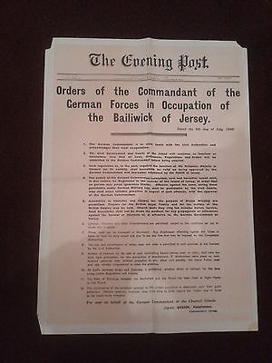 Vintage World War II Poster reprint of THE EVENING POST, JERSEY - 9th July 1940