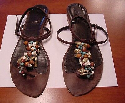 J. CREW Chocolate Brown Suede T-Strap Sandals w/ Turquoise Beads & Shells Size 8